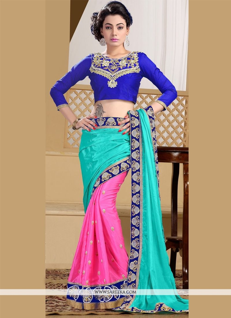 Faux Chiffon Hot Pink and Turquoise Patch Border Work Designer Saree