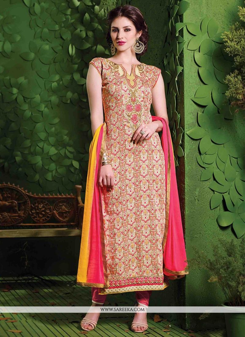 Lace Work Cream Cotton   Designer Salwar Suit