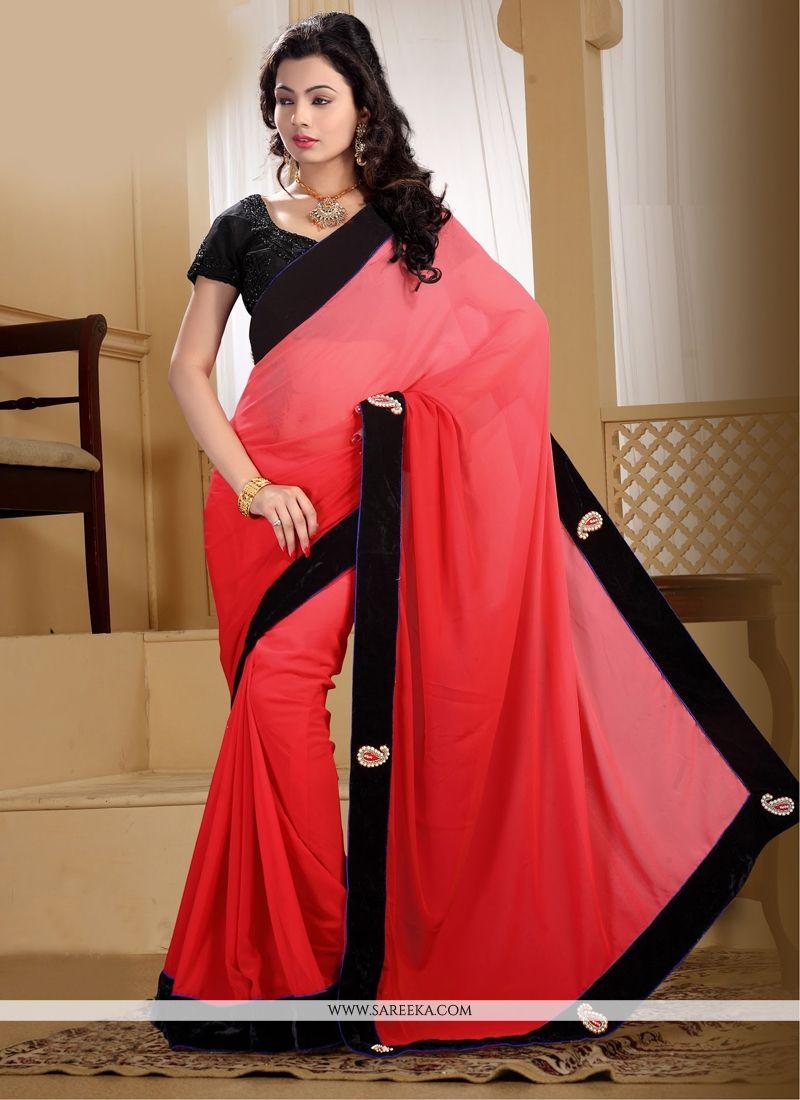 Red Georgette Contemporary Saree