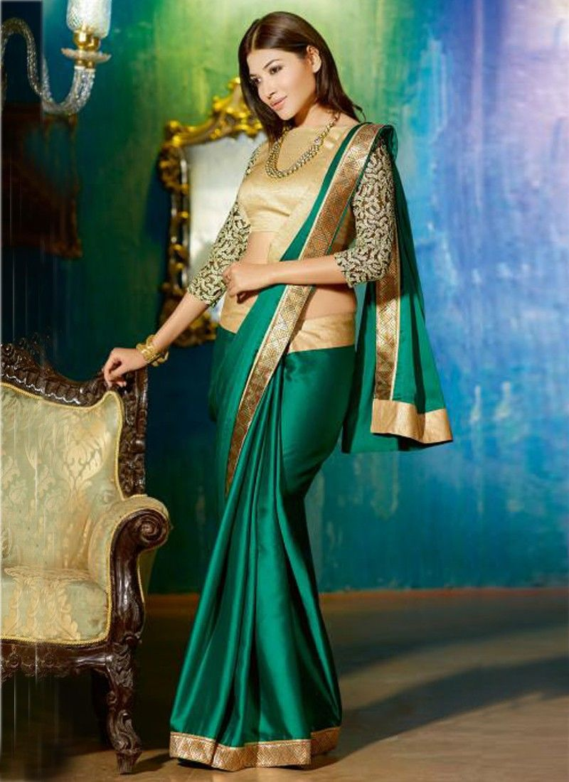 Green And Cream Patch Border Work Designer Saree