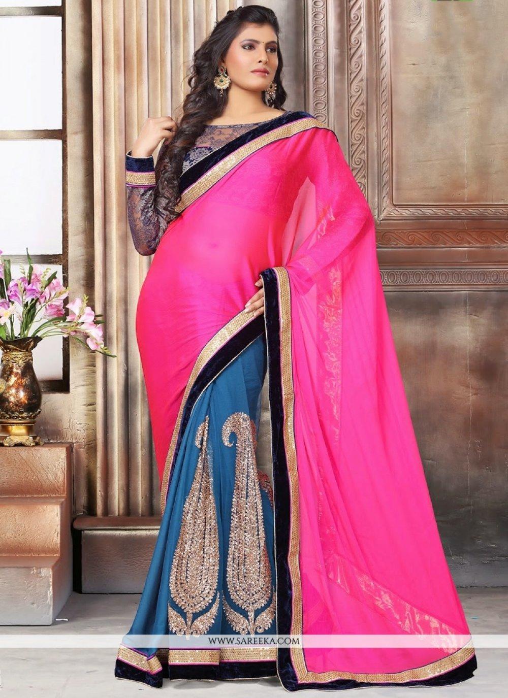 Grey and Hot Pink Zari Work Designer Saree
