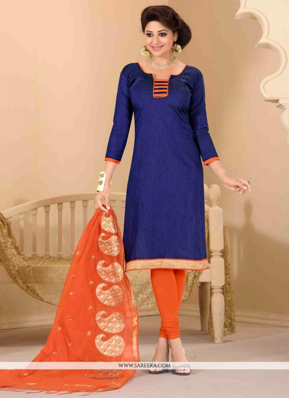 Jute Silk Lace Work Churidar Salwar Suit