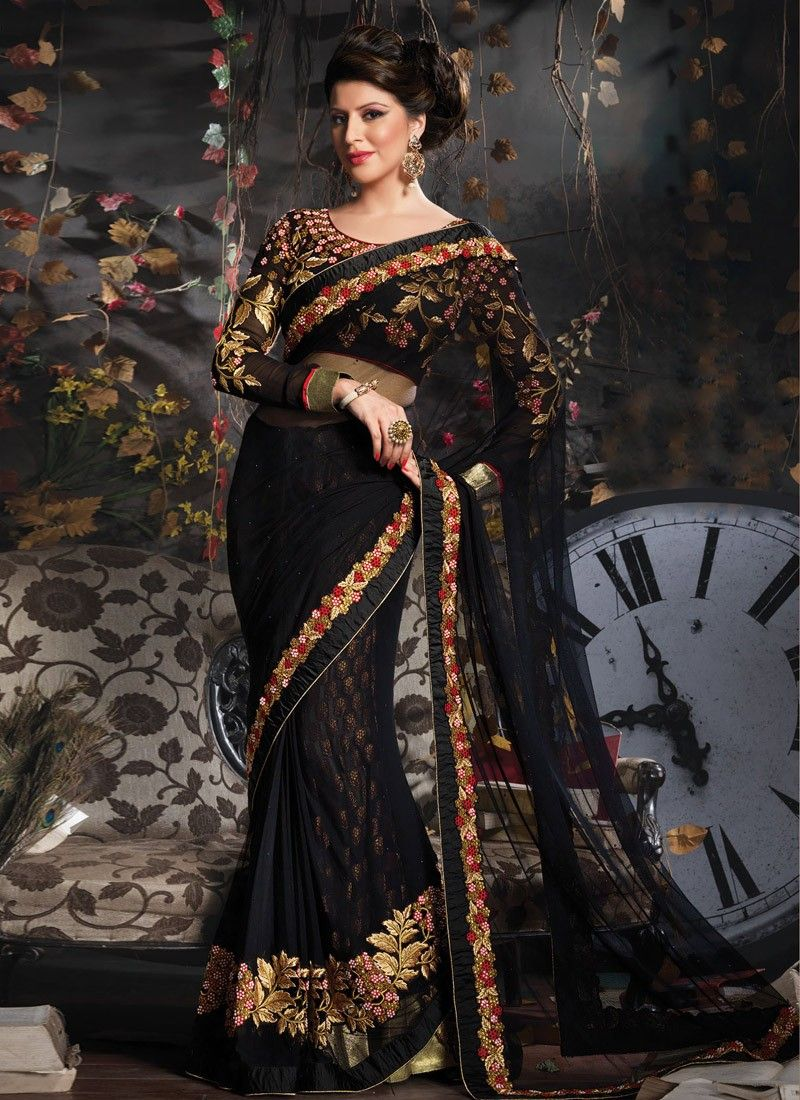 Preety Black Color Net Party Wear Saree