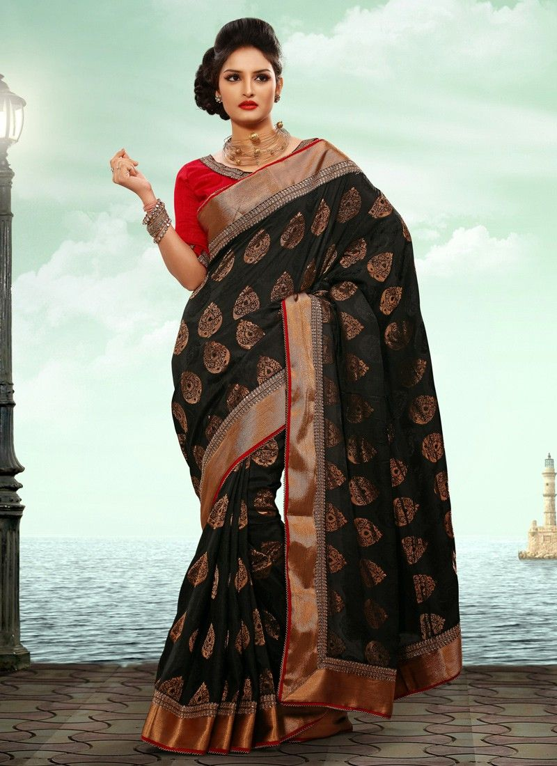 Preety Black Jacquard Casual Saree