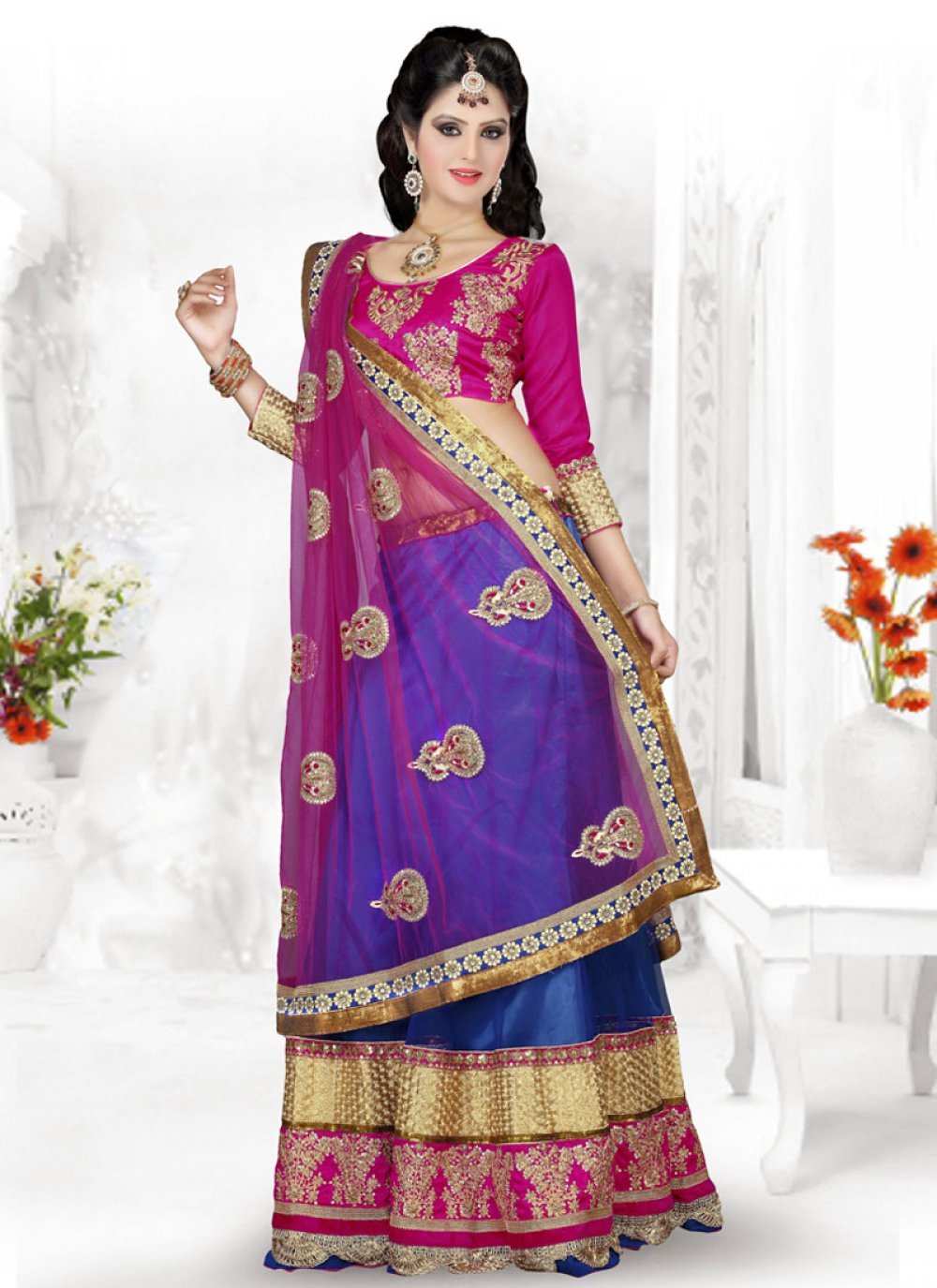 Preety Blue And Pink Embroidery Work Lehenga Choli