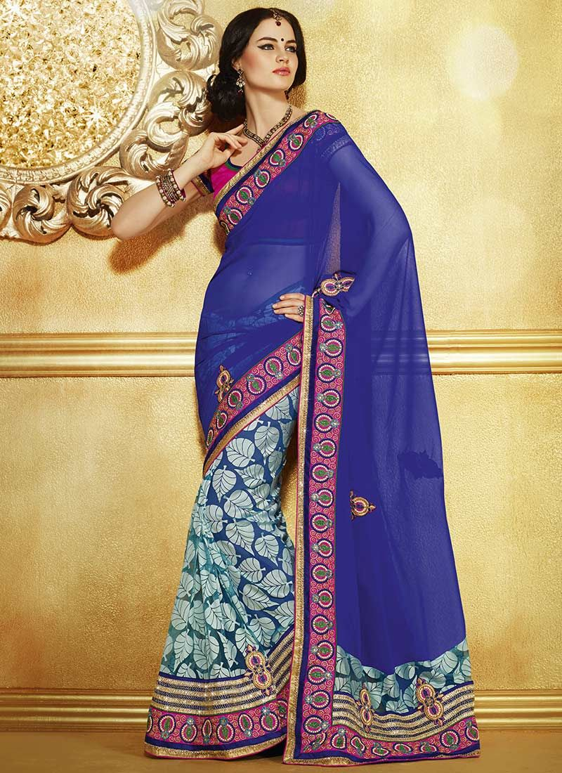 Preety Blue Net And Faux Georgette Half And Half Saree