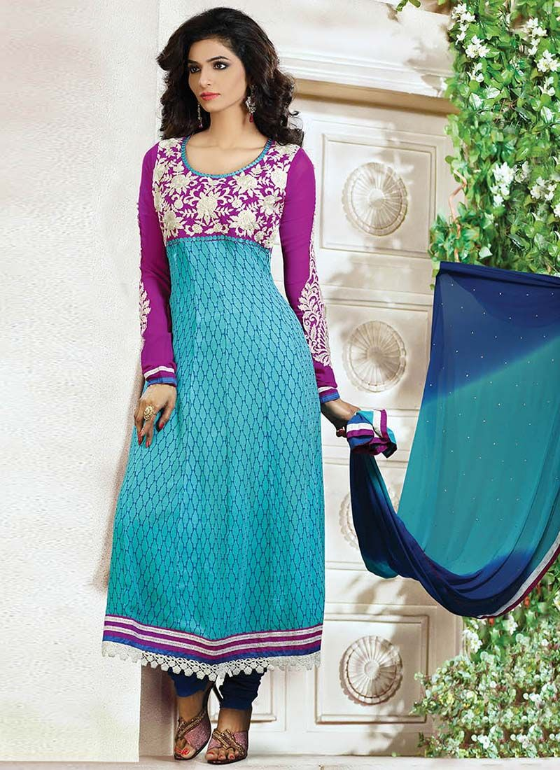 Preety Blue Printed Embroidered Churidar Suit