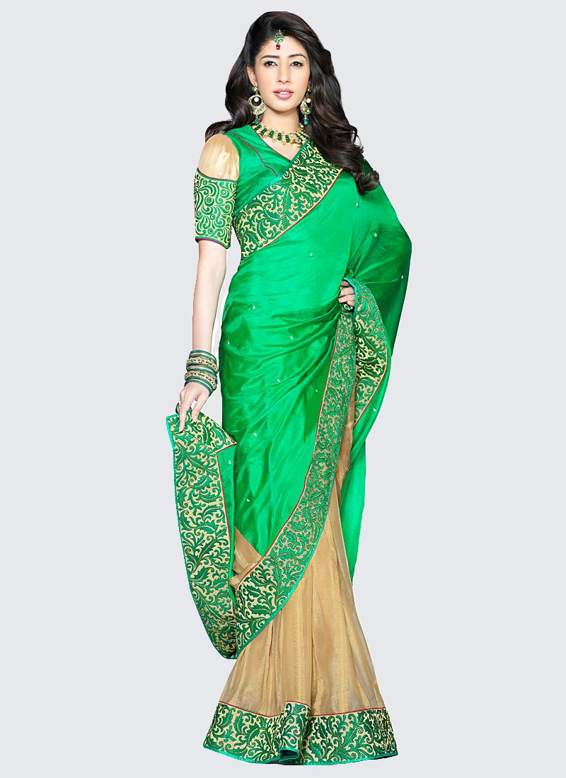 Preety Green And Cream Silk Half And Half Saree