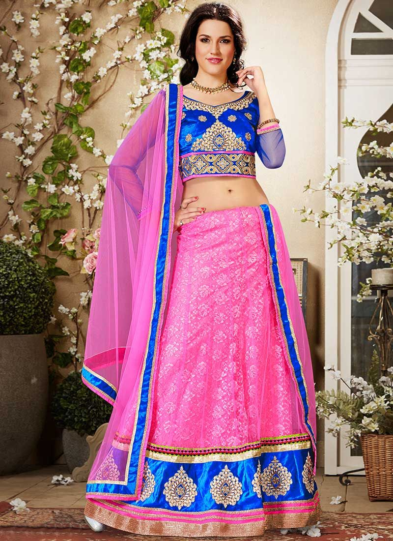 Preety Hot Pink Net Lehenga Choli