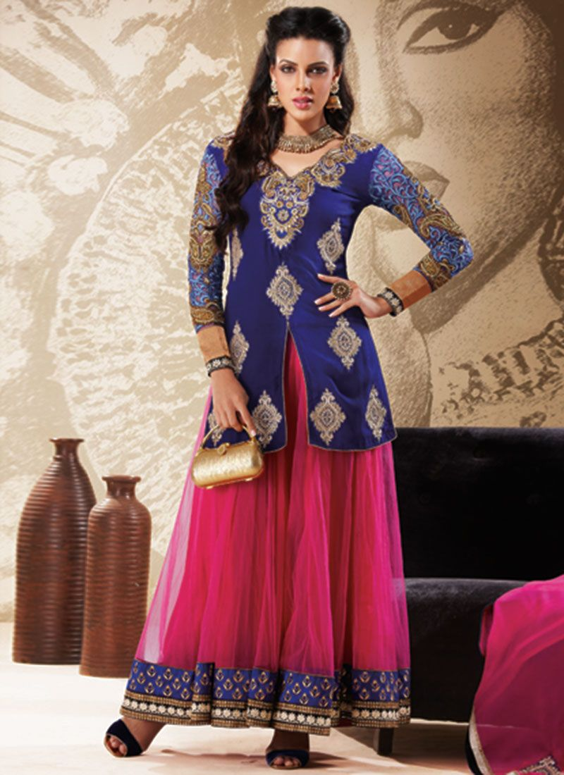 Preety Magenta And Blue Jaal Work Designer Anarkali Suit