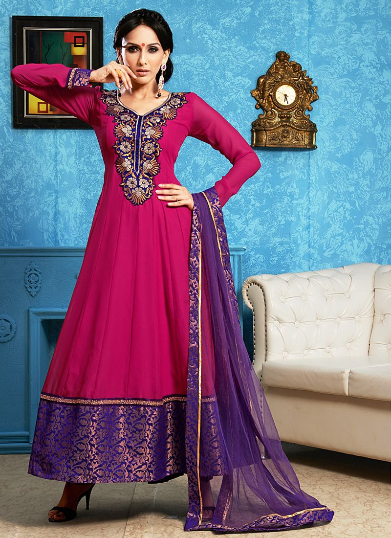 Preety Magenta Patch Border Work Chiffon Anarkali Suit