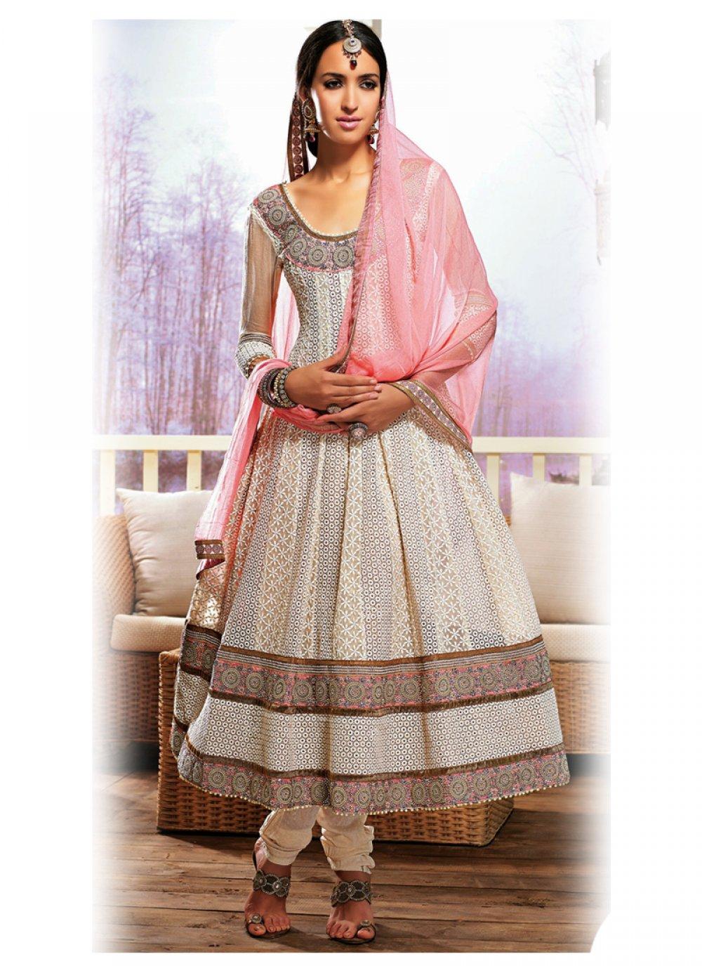 Preety Off White And Pink Resham Work Anarkali Salwar Suit
