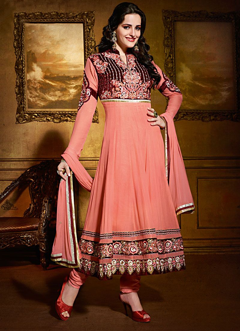 Preety Peach Velvet And Viscose Georgette Anarkali Suit