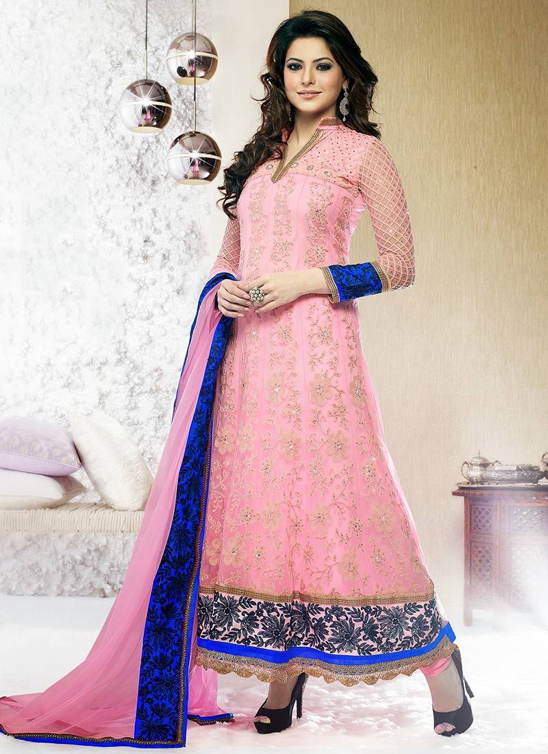 Preety Pink Aari Ankle Length Anarkali Suit