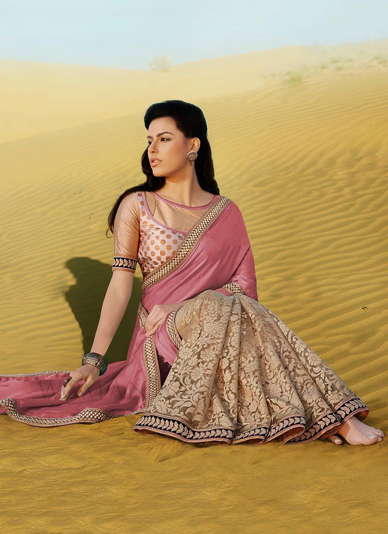 Preety Pink And Beige Printed Shimmer Georgette Half And Half Saree
