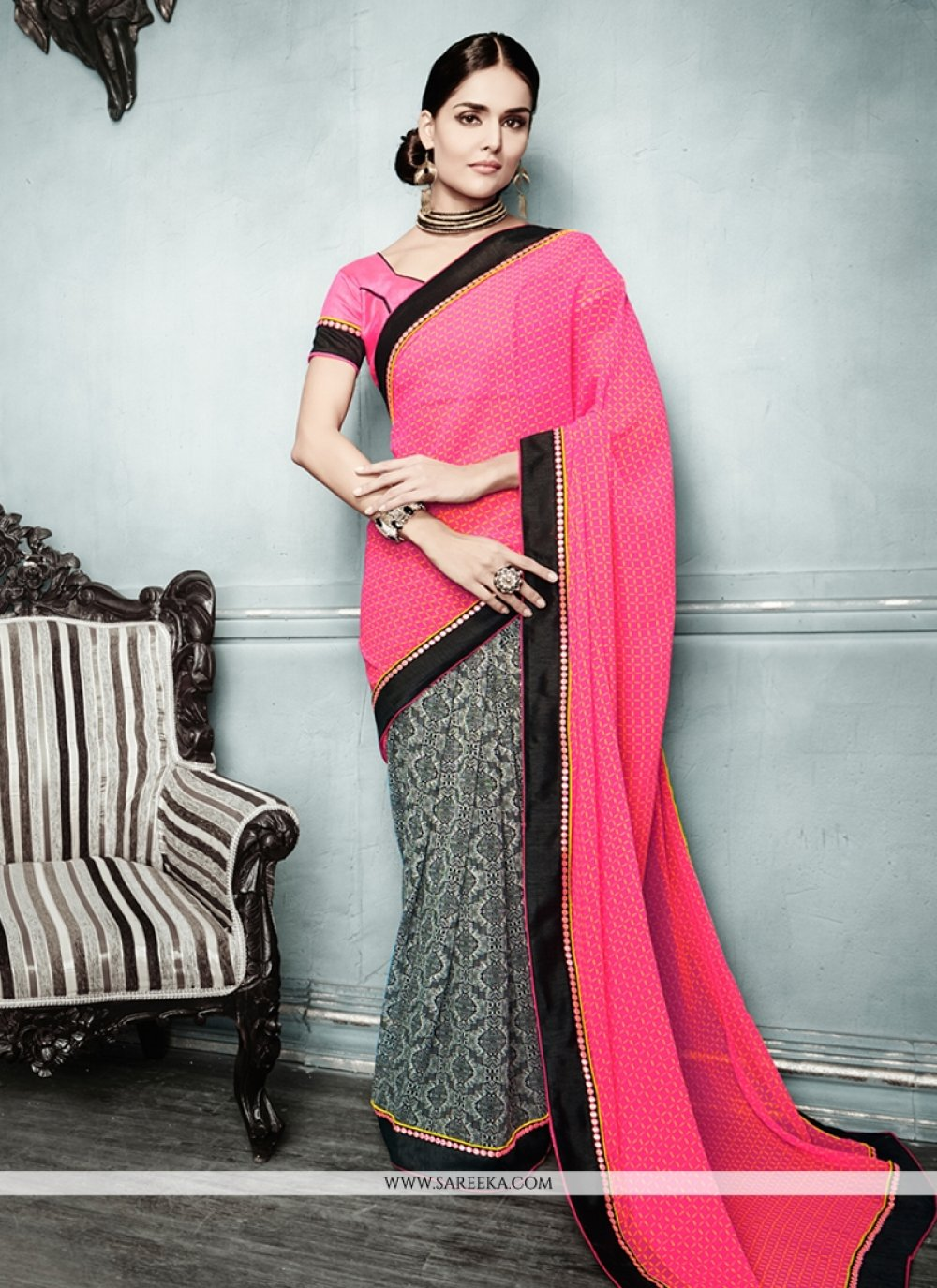 Preety Pink And Black Georgette Casual Saree