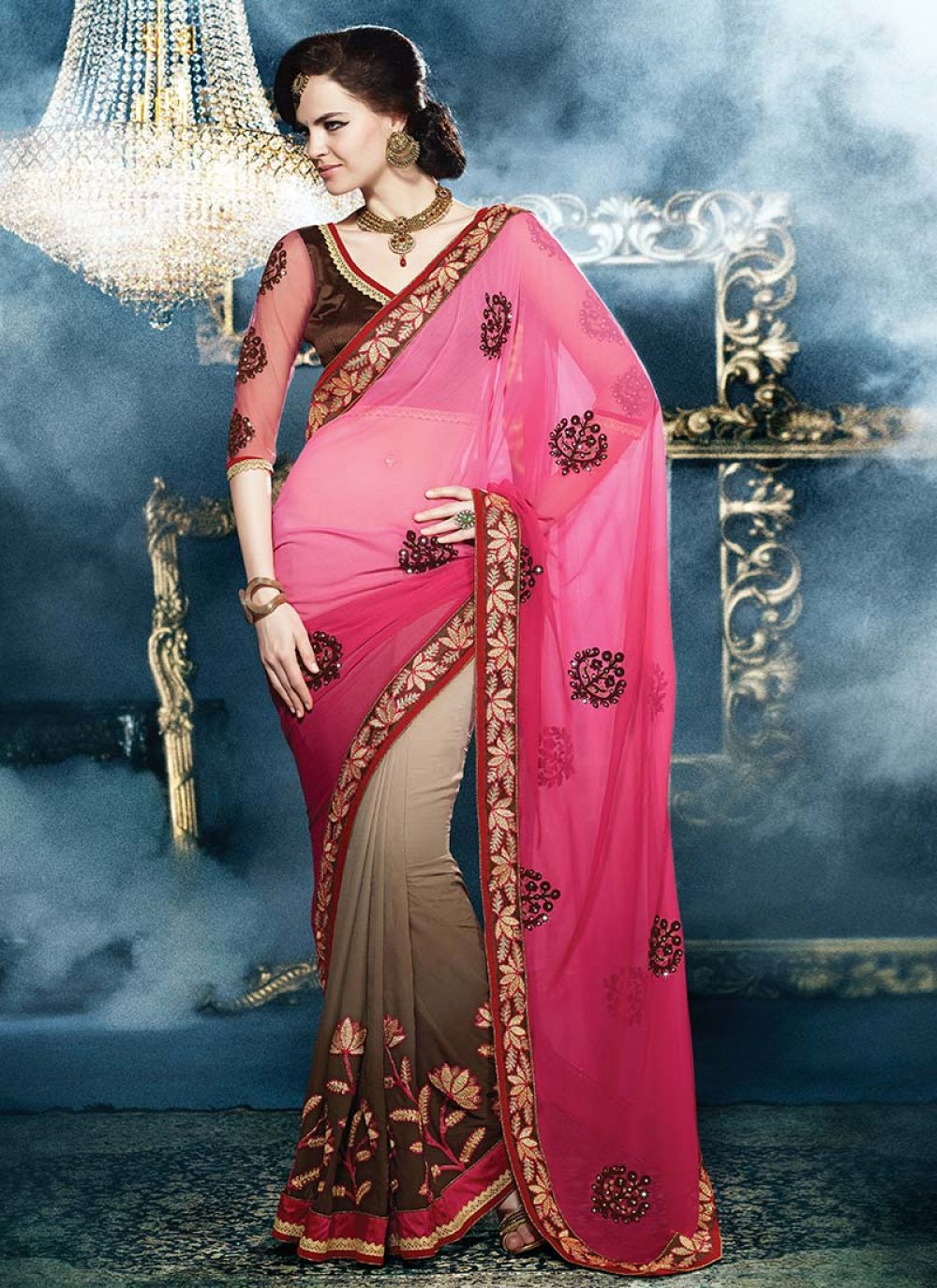 Preety Pink And Brown Embroidered Georgette Saree