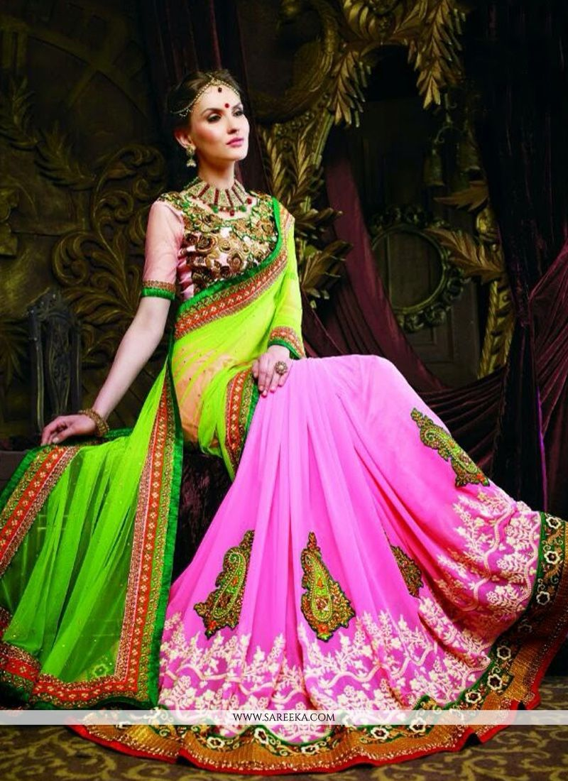 Preety Pink And Green Net And Georgette Saree
