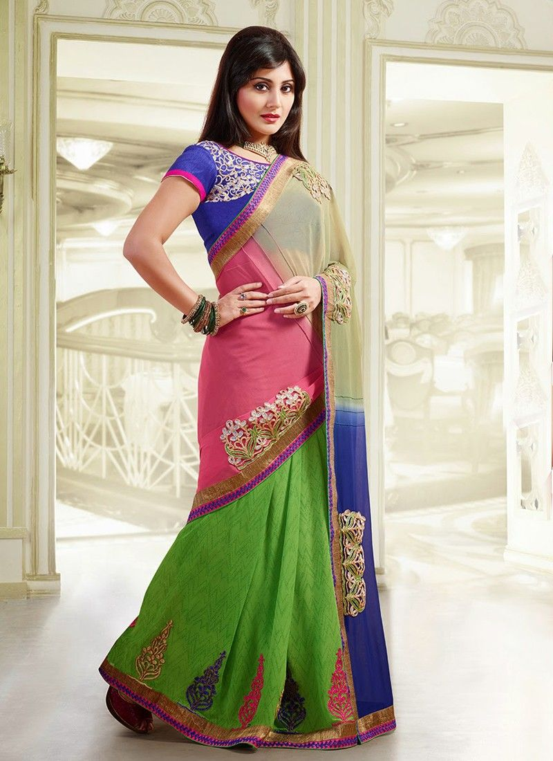 Preety Pink And Green Resham Work Faux Georgette Saree