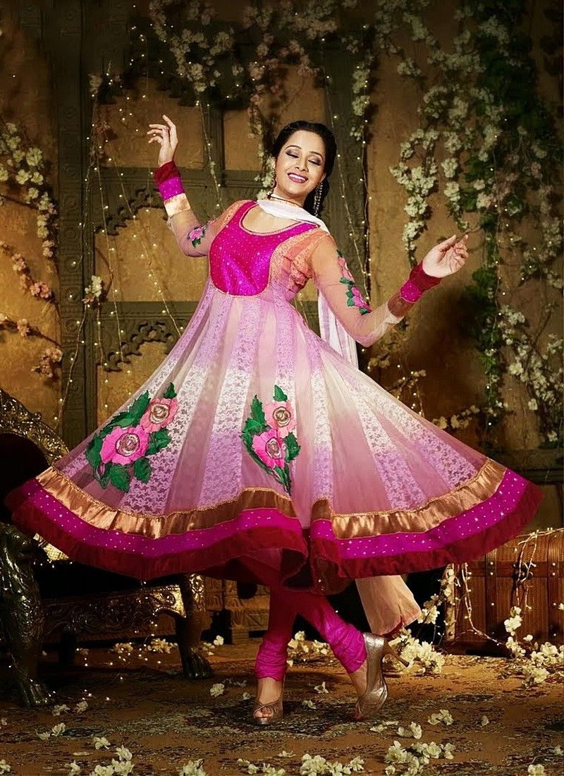 Preety Pink And Off White Faux Georgette Anarkali Suit