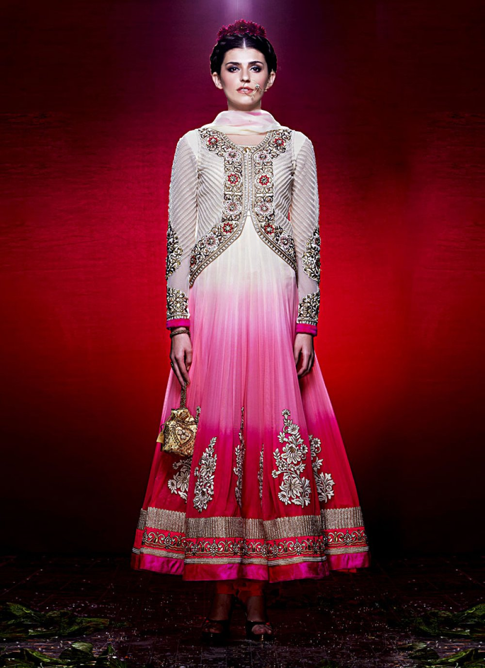 Preety Pink And Off White Shaded Net Anarkali Suit