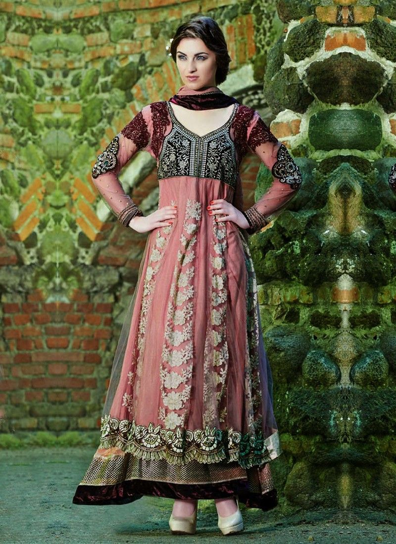 Preety Pink And Wine Resham Work Velvet Anarkali Suit