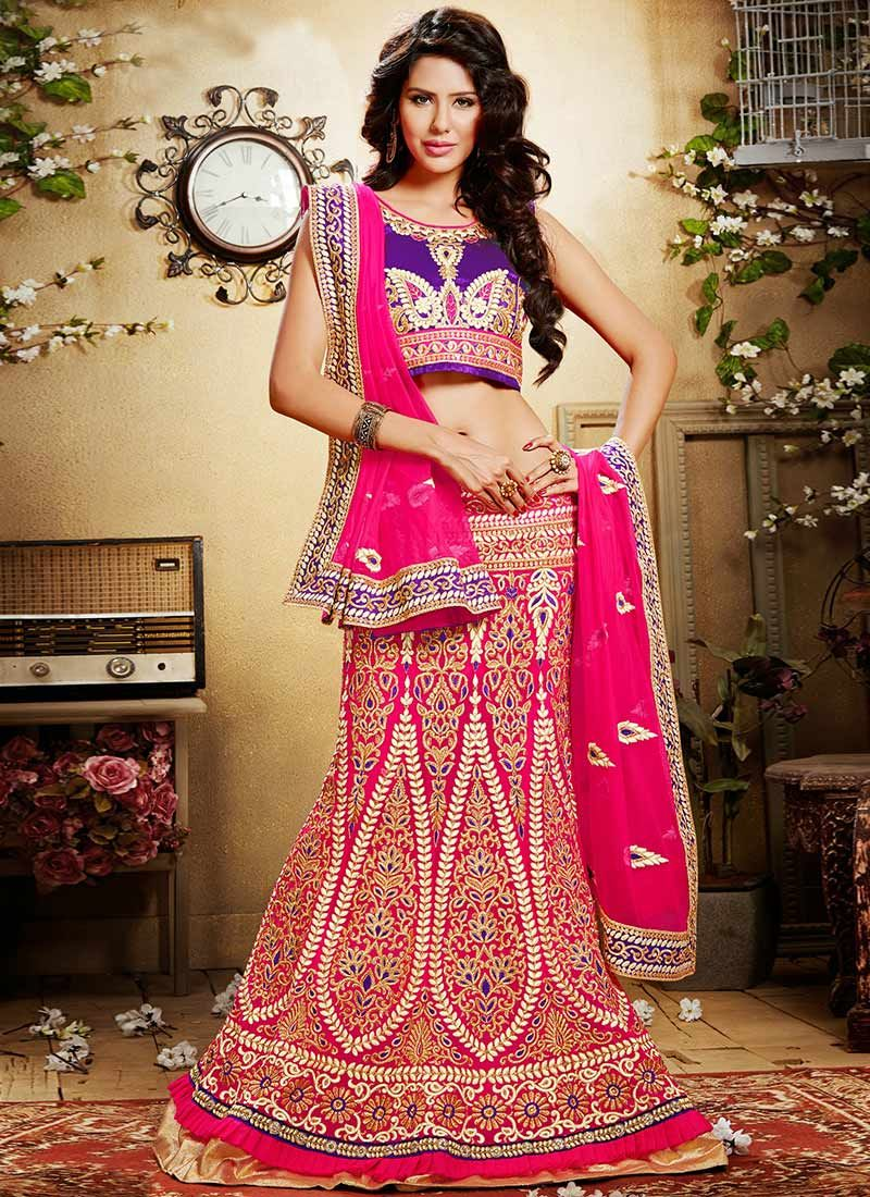 Preety Pink Appliques Enhanced Net Lehenga Choli