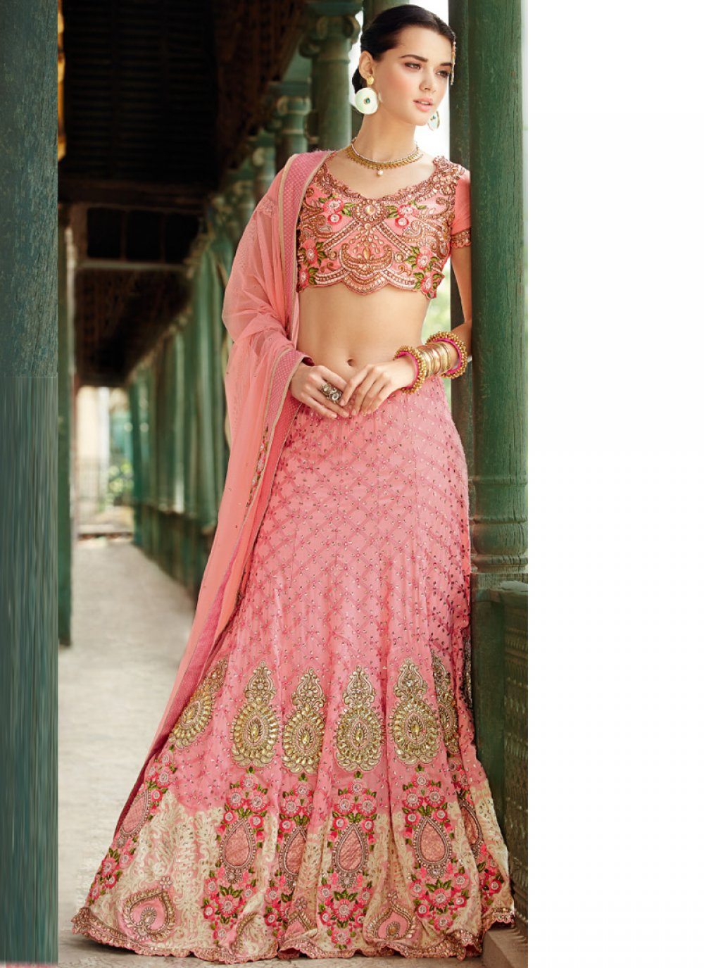 Preety Pink Banarasi Silk Lehenga Choli