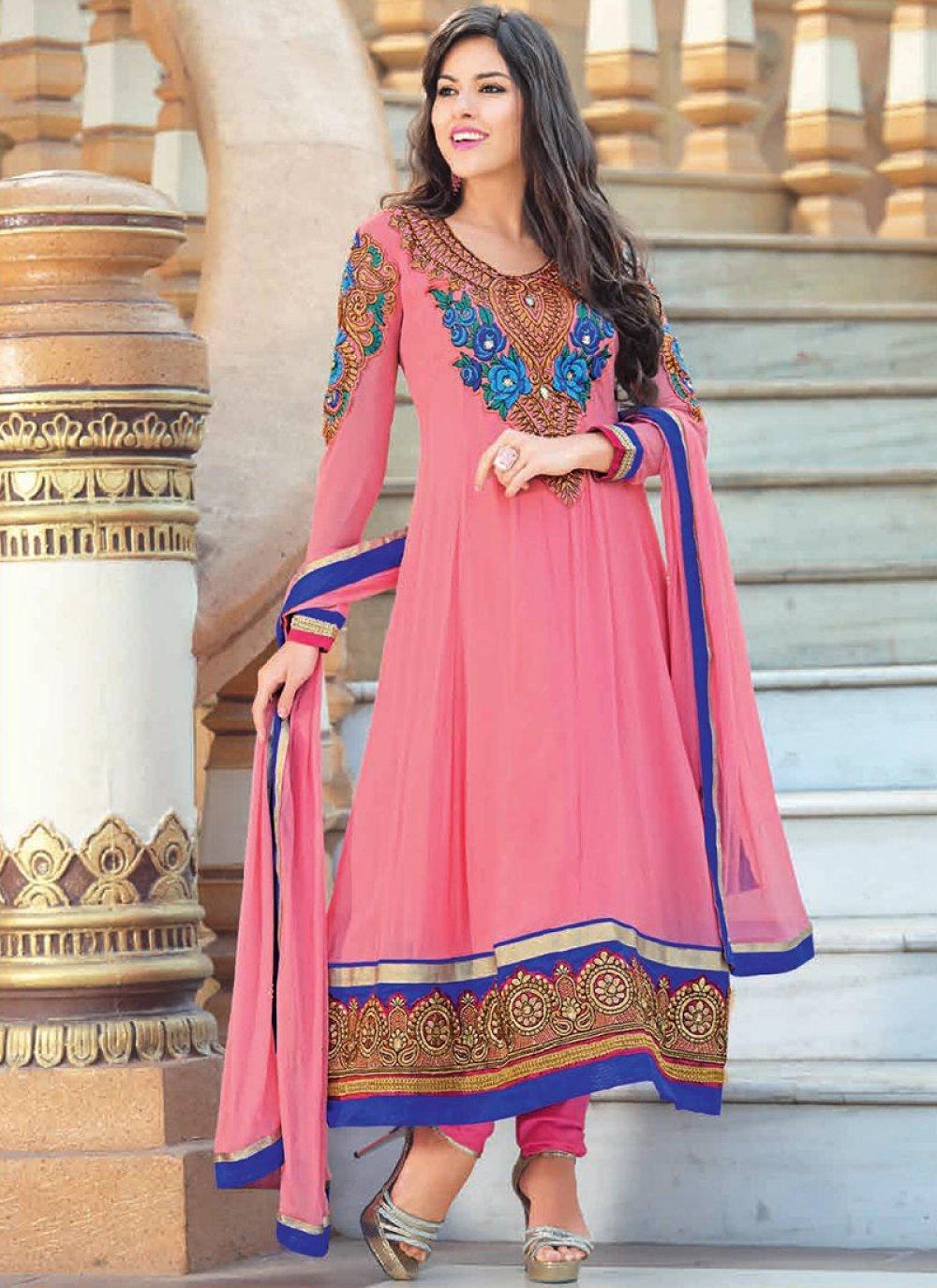 Preety Pink Border Work Georgette Anarkali Suit
