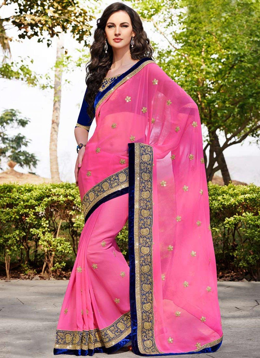 Preety Pink Embroidered Border Work Saree
