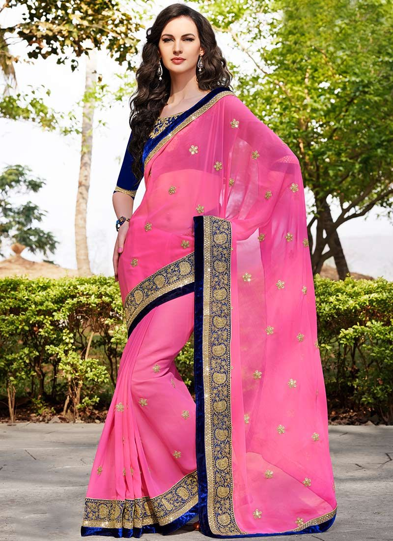 Preety Pink Embroidered Border Work Saree