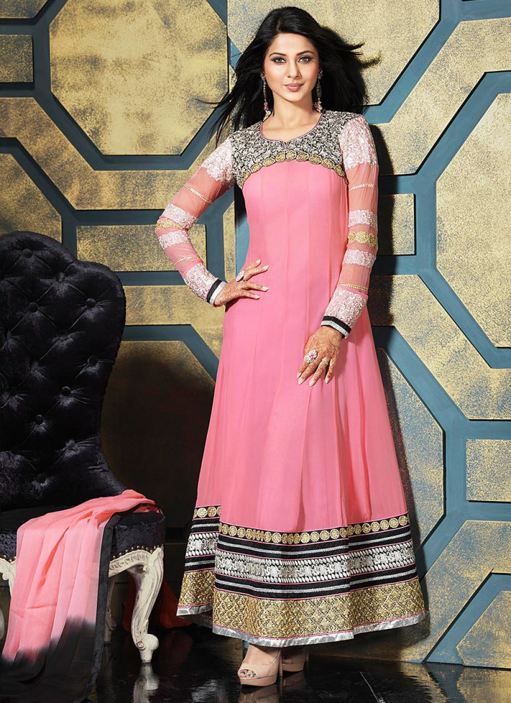 Preety Pink Embroidery Patch Border Work Anarkali Suit