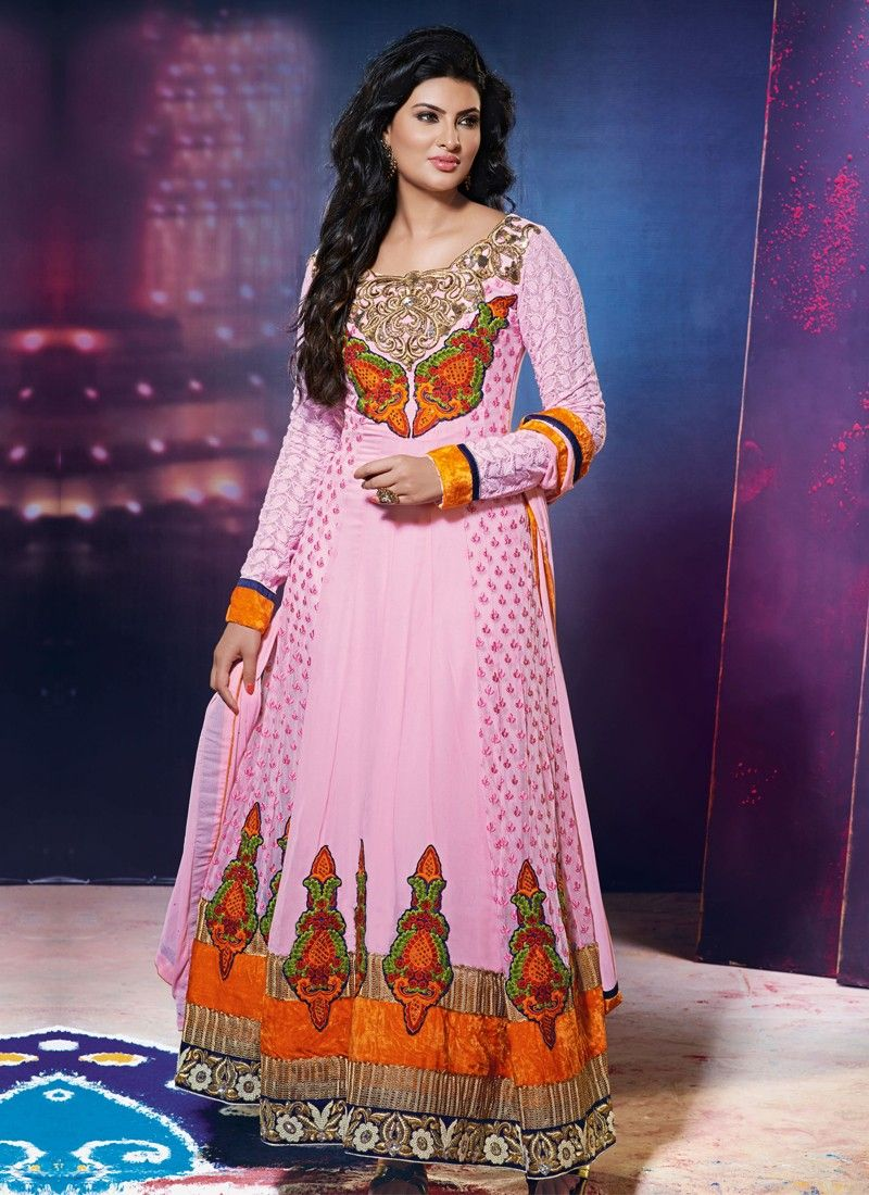 Preety Pink Embroidery Work Anarkali Salwar Suit