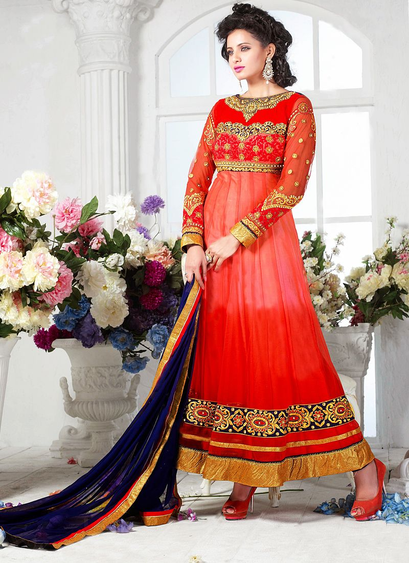 Preety Pink Embroidery Work Georgette Anarkali Suit