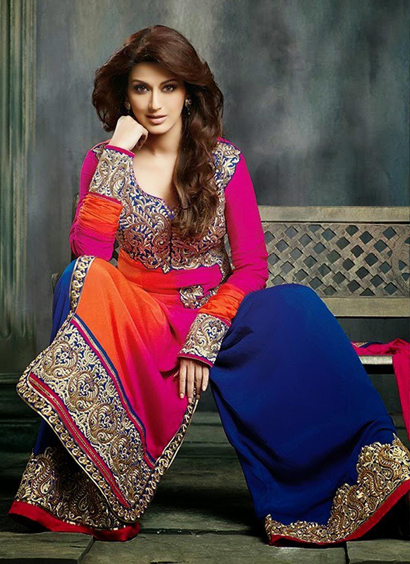 Preety Pink Faux Crepe Punjabi Suit -