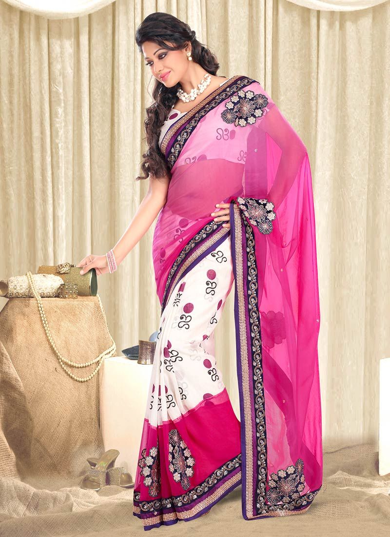 Preety Pink Georgette Half And Half Saree