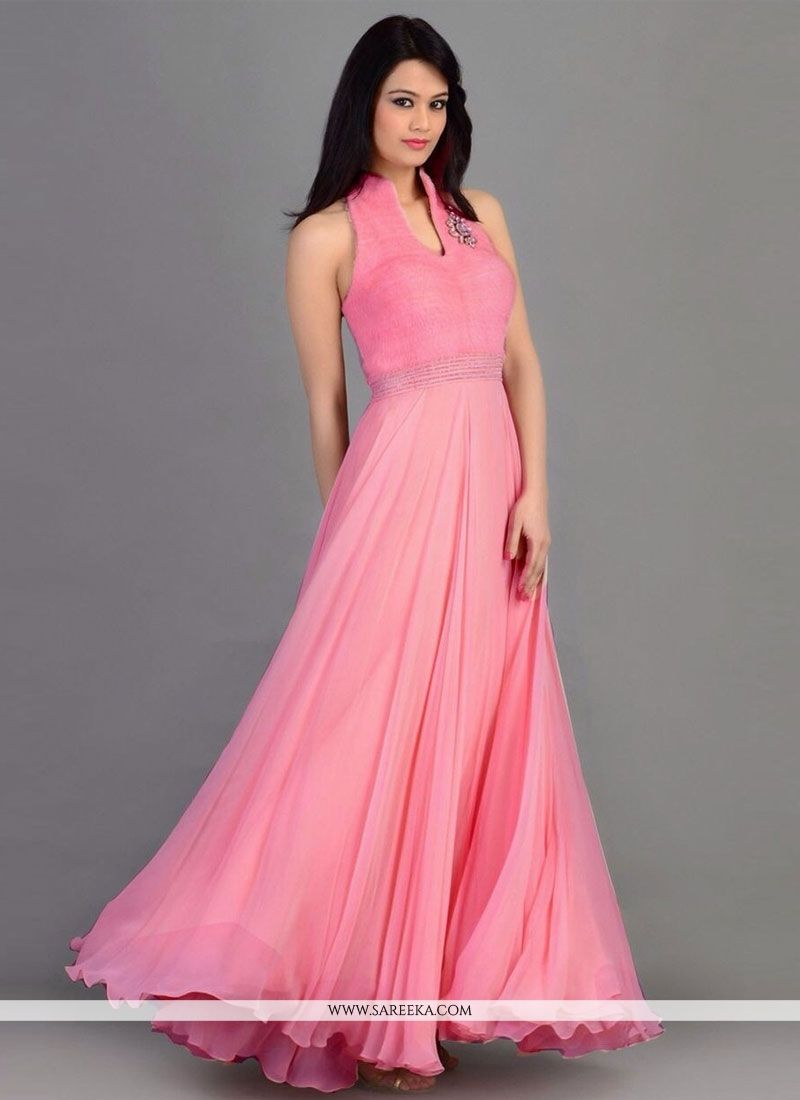 Preety Pink Georgette Party Wear Gown -