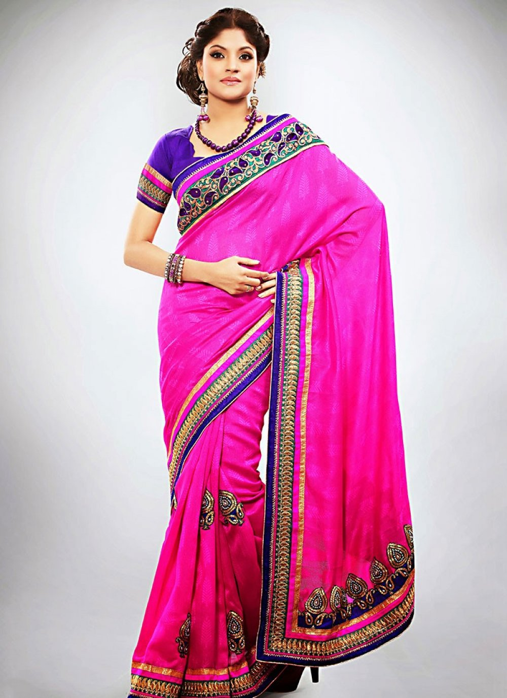 Preety Pink Jacquard Party Wear Saree