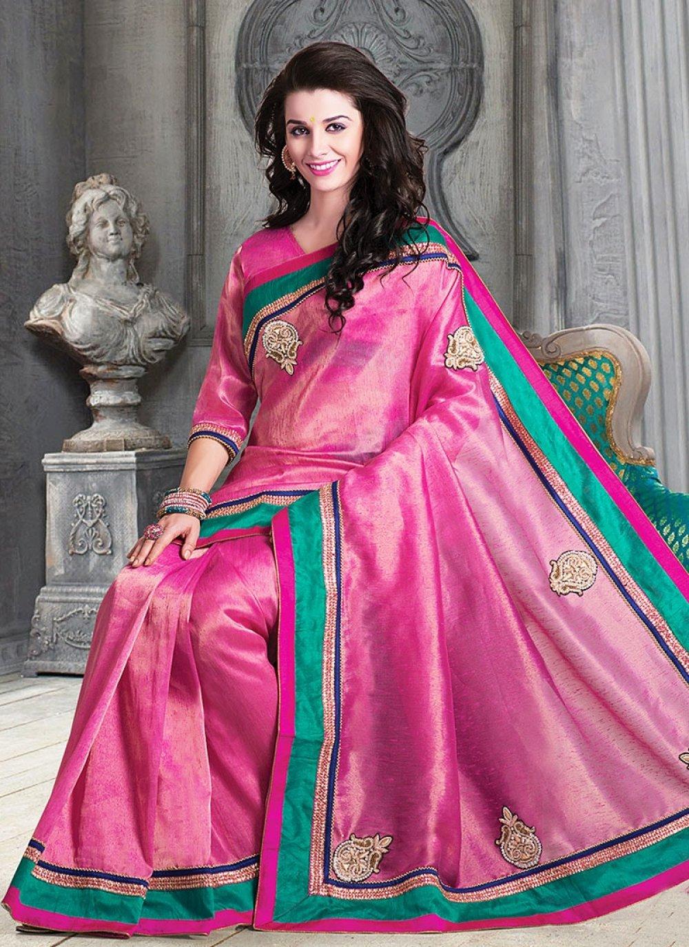 Preety Pink Jute Saree