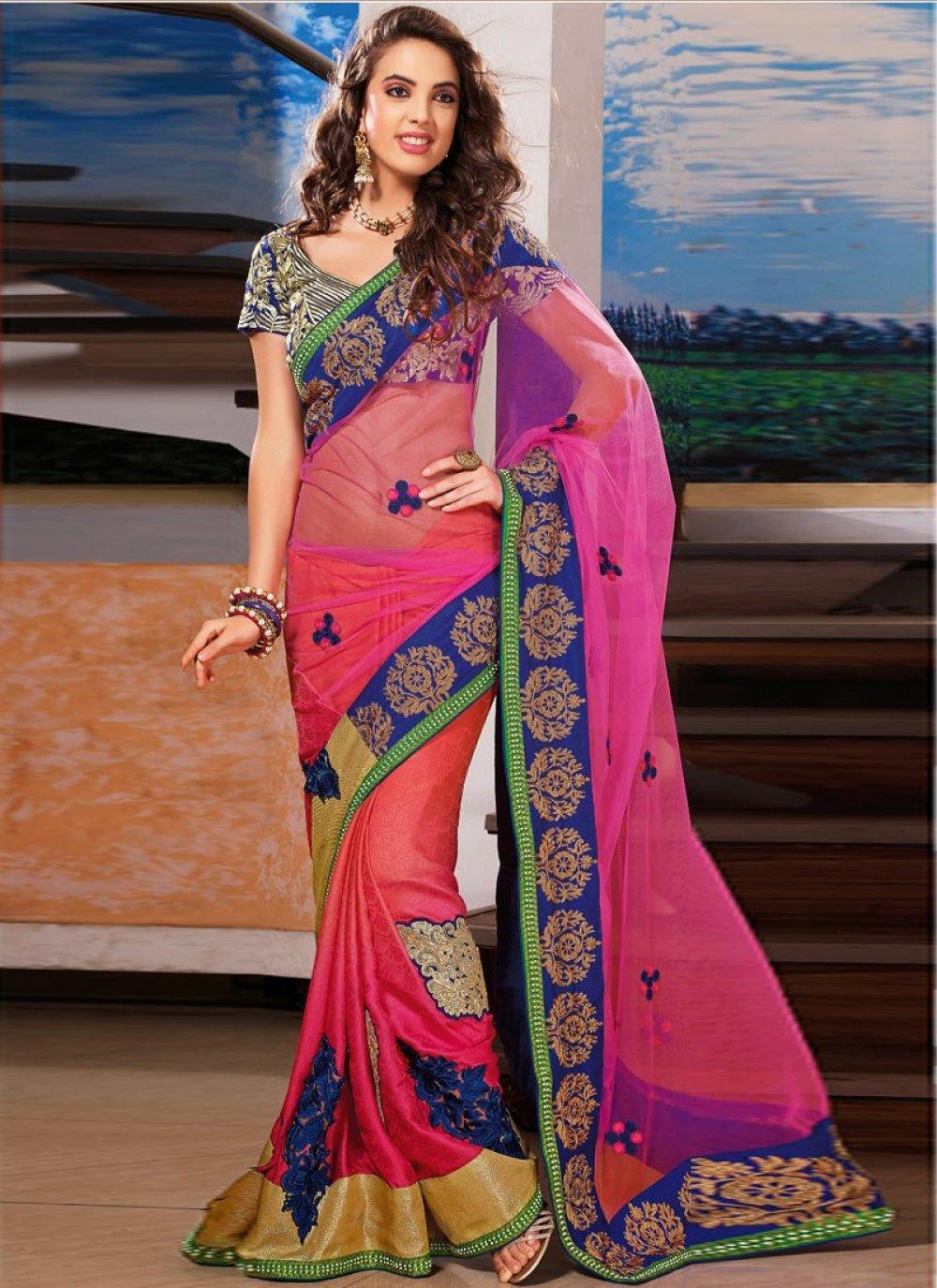 Preety Pink Net Chiffon Wedding Saree