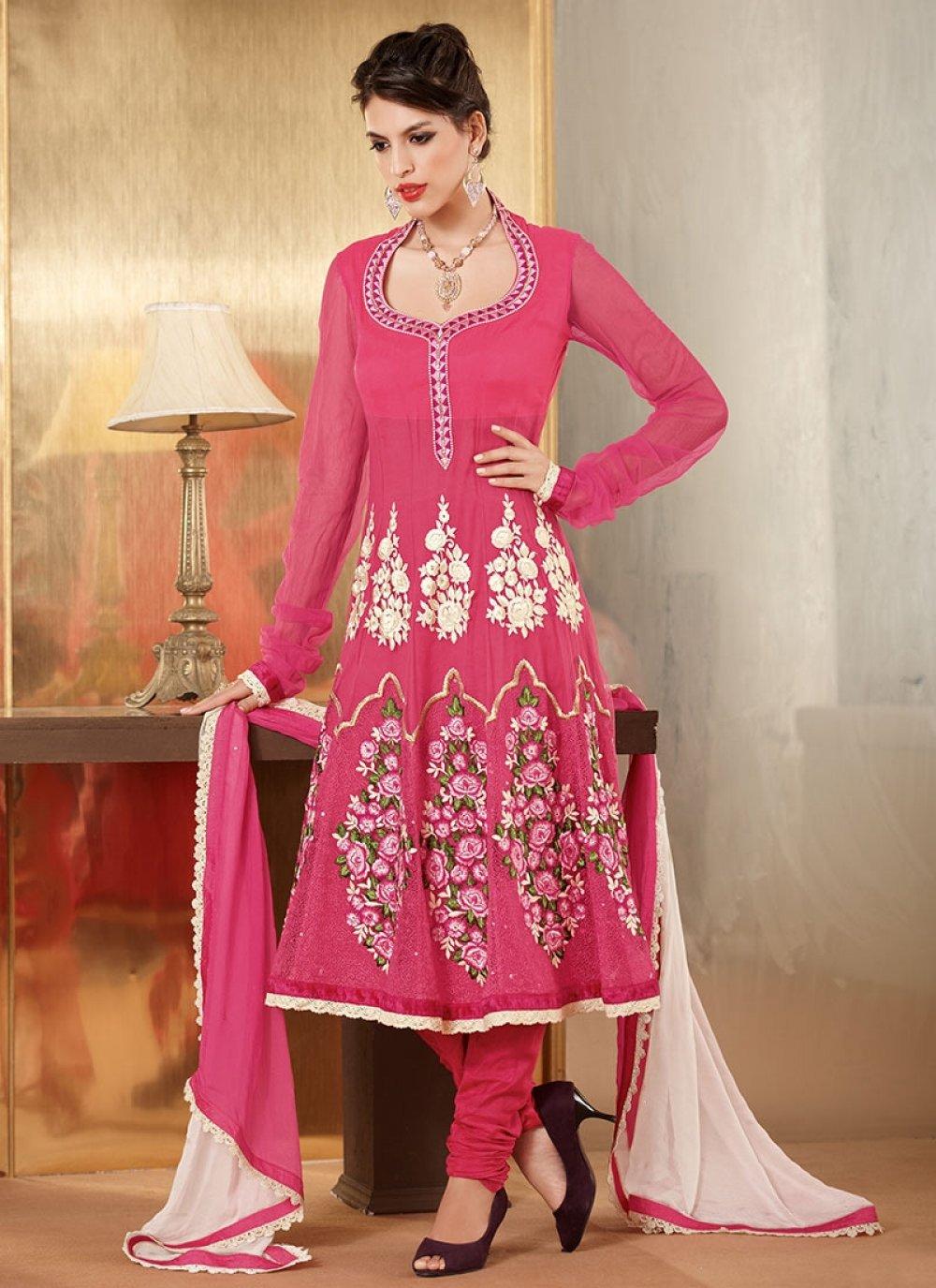 Preety Pink Net Designer Churidar Suit
