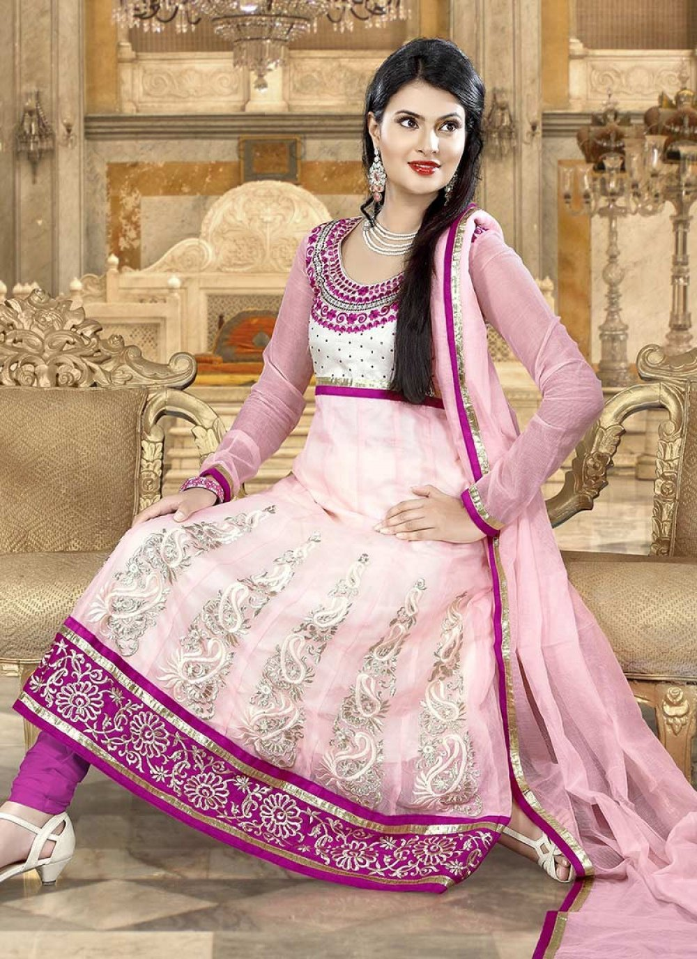 Preety Pink Net Embroidered Churidar Suit