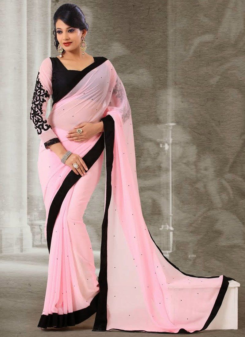 Preety Pink Patch Border Faux Georgette Saree