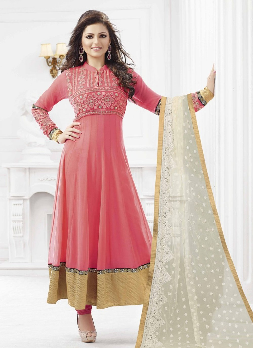 Preety Pink Patch Border Work Anarkali Suit