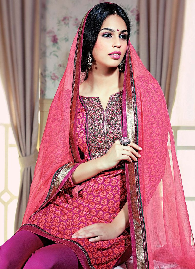 Preety Pink Printed Cotton Churidar Suit