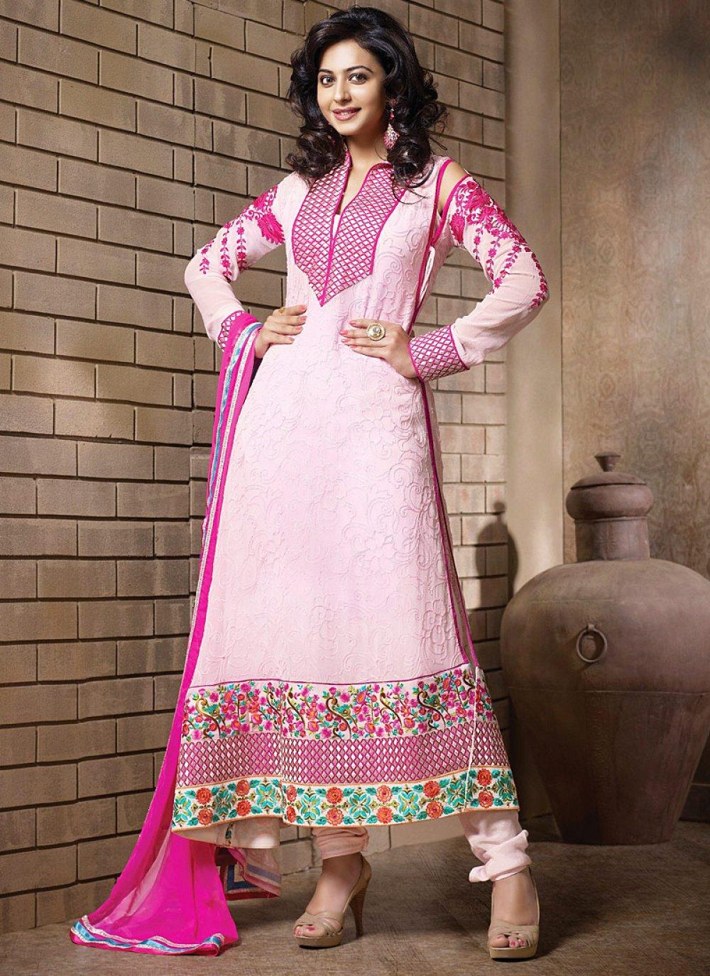 Preety Pink Resham Border Work Anarkali Salwar Suit