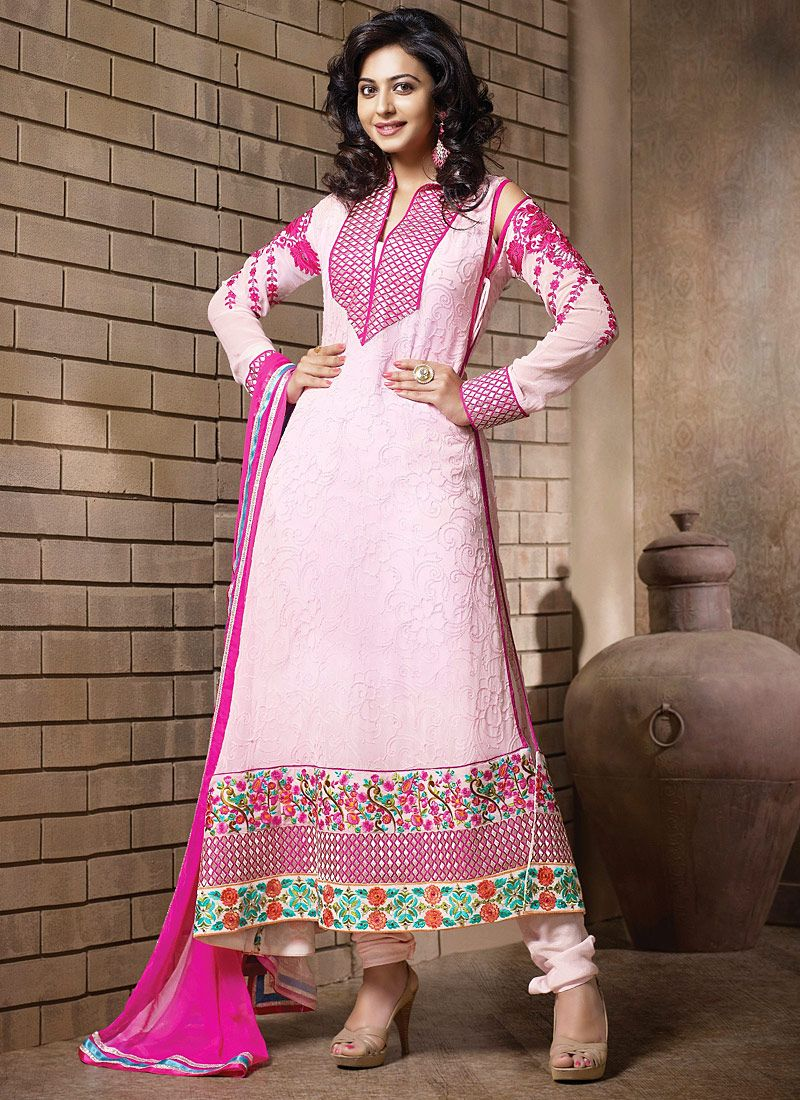 Preety Pink Resham Border Work Anarkali Salwar Suit