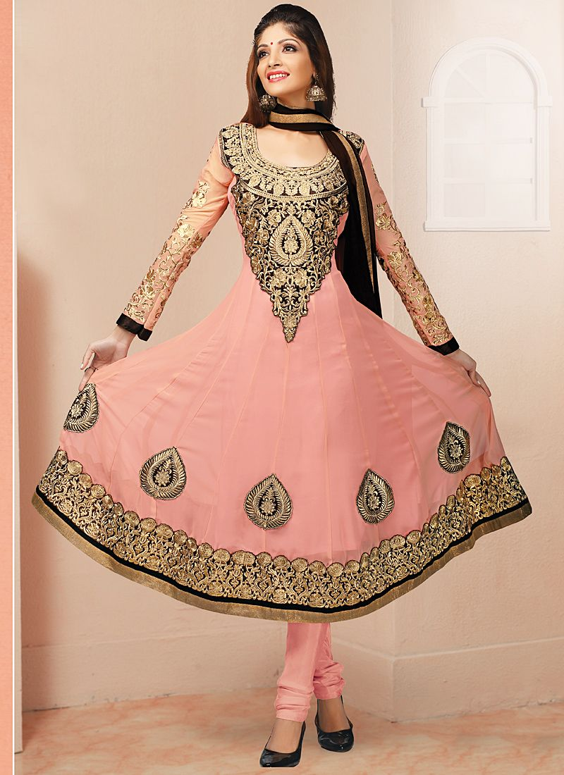 Preety Pink Resham Border Work Anarkali Suit