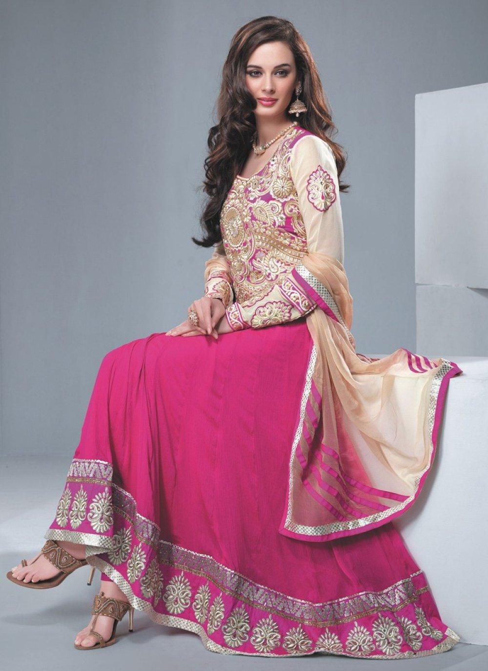 Preety Pink Resham Border Work Chiffon Anarkali Suit