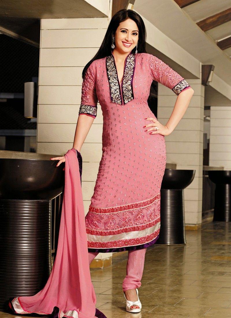 Preety Pink Resham Border Work Churidar Salwar Suit